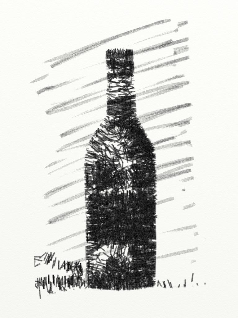 Fles wijn, arcering met de verfroller.